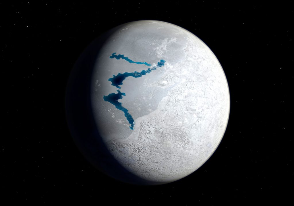 View of Earth 650 million years ago during the Marinoan glaciation.