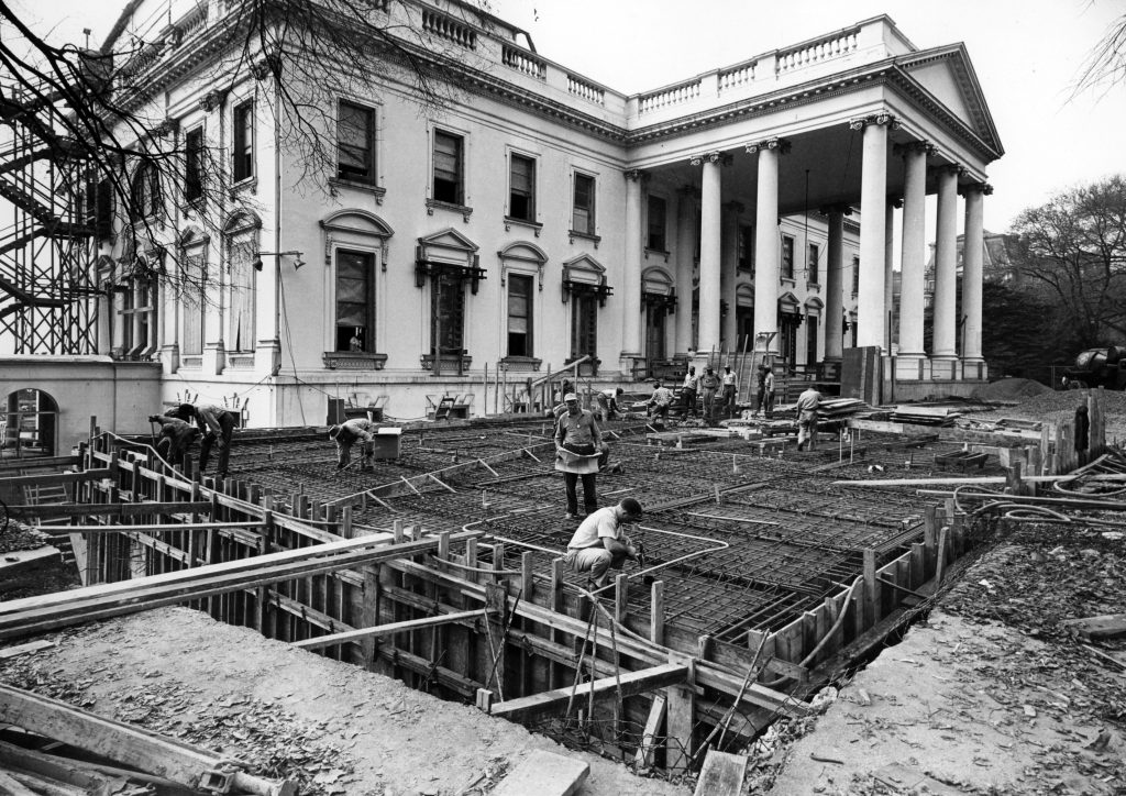 View Of The State Dining Room During The White House Renovation