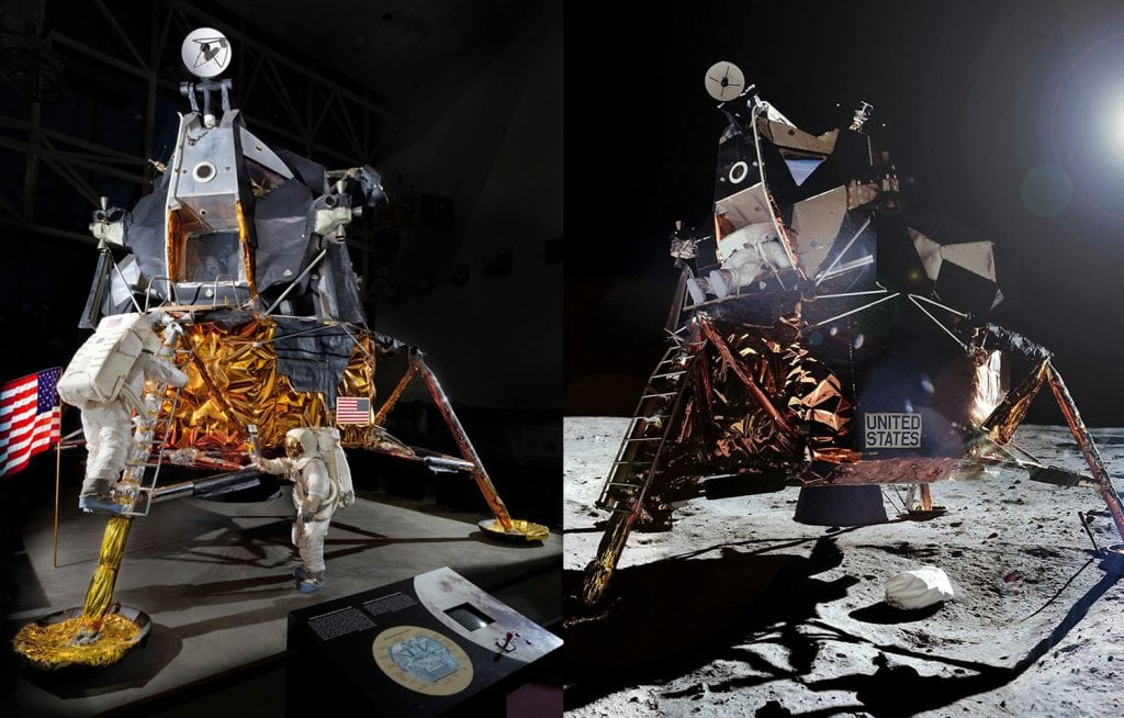 Fake moon landing light comparison
